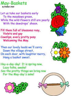 May Baskets poem Evaleen Stein Preschool Crafts, Crafts For Kids, Teach Preschool, Spring Crafts, Holiday Crafts, May Day Baskets, Monthly Quotes, Girls Tea Party, Daisy Scouts