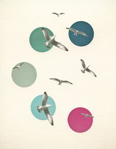 A seaside art print featuring a flock of circling seagulls against a blue and pink abstract sky. Title: Circling This print is available in Collage Art, Collages, Goldscheider, Bird Wall Art, Circle Art, Bathroom Wall Art, Pink Abstract, Coastal Art, Graphic Design Typography