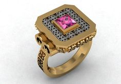 14k Yellow Gold Luxurious Vintage Two Tone Ring for by VOLISA, $1150.00