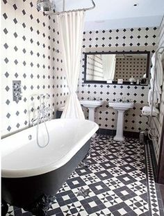 Black And White Bathroom Floor Tile On Beautiful Small Bathroom