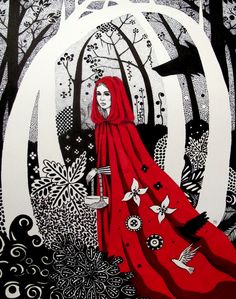 """panchmonster: Fairy Tale Series: Sleeping Beauty14"""" x 10.5""""Ink, Acrylic and Gouache on Paper Fairy Tale Series: Red Riding Hood14"""" x 10.5""""Ink and Gouache on Paper"""