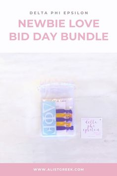 Spoil your new members this recruitment with the Newbie Love bundle! Gift bag includes a sorority decal, hair tie set, and button set. Delta Phi Epsilon Gifts   Delta Phi Epsilon Bid Day   DPhiE New Member Gifts   Delta Phi Rush Gift Bags   Delta Phi Epsilon Recruitment   Sorority Bid Day   Sorority Recruitment   Bid Day Bags   Sorority New Member Gift Ideas #BidDayGifts #SororityRecruitment Sorority Bid Day, Sorority Recruitment, Bid Day Gifts, Alpha Epsilon Phi, Letter Decals, Bid Day Themes, Kappa Delta, Tie Set, Hair Tie