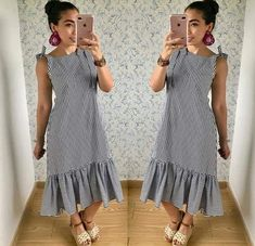 Day Dresses, Casual Dresses, Fashion Dresses, Simple Outfits, Chic Outfits, Lazy Halloween Costumes, Frocks, Casual Looks, Short Sleeve Dresses