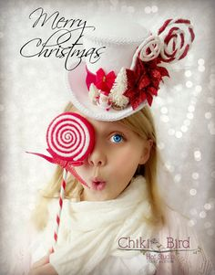 Santa Christmas Red and White Mini Top Hat Alice in by ChikiBird, $48.00