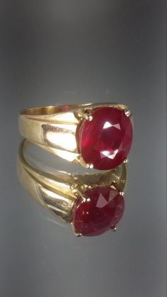 10K Solid Yellow Gold Mens Ruby Ring Retro by GrandmothersEstate