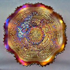 "CARNIVAL GLASS - NORTHWOOD EMBROIDERED MUMS Amethyst 9"" Ruffled Bowl"