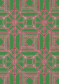 Thibaut Shoji Panel Green and Pink Wallpaper