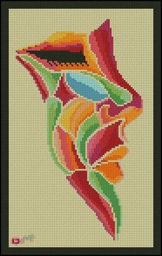 0 point de croix visage de fille multicolore - cross stitch colourful girl's face