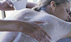 A woman receives a scrub treatment at Natskin Day Spa at Balgownie Estate Vineyard Resort & Spa in Yarra Valley, Australia. #WineSpa