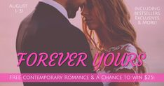 Find your next favorite romance novel among these FREE ebooks. Click on the covers of the books you want, sign up to learn a little more about the authors, and start reading. Don't forget to enter to win the gift card. Enjoy! Forever Yours, Romance Novels, Free Reading, Free Ebooks, Don't Forget, Finding Yourself, Sign, Learning, Hope You