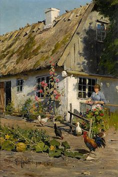 In the Countryside - Peder Mork Mønsted - The Athenaeum Landscape Art, Landscape Paintings, Pintura Tole, Cottage Art, Farm Yard, Vintage Artwork, Beautiful Paintings, Farm Life, Painting & Drawing