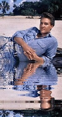 ♡♥Elvis relaxes on a beach - click GIF to make the water move!♥♡