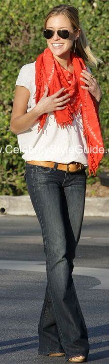 Wide leg jeans + bright scarf