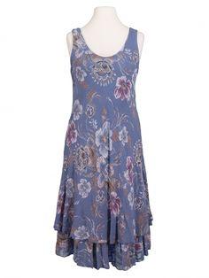 Damen Kleid Lagenlook geblümt, blau von Diana bei www.meinkleidchen.de