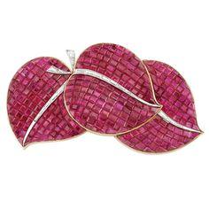 Rose Gold, Platinum, Mystery-Set Ruby and Diamond Leaf Clip-Brooch, Van Cleef & Arpels, France. Photo courtesy Doyle New York