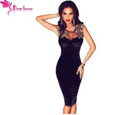 Dear-Lover velvet dress party dresses Black Sleeveless Lace-up Back Floral Detail Midi Bodycon Dress