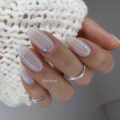 Wow Wedding Nail Ideas ★ nail ideas pink light with blue gloss dots elinanailsart Classy Nails, Stylish Nails, Cute Nails, Pretty Nails, Fancy Nails, Milky Nails, Nagellack Design, Best Acrylic Nails, Classy Acrylic Nails