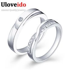 Find More Rings Information about Lovers' Gift Wedding Rings for Women Couple Jewellery Ring Cubic Zirconia Anel Masculine High Quality Men's Wedding Ring J040,High Quality ring stretch,China ring setting Suppliers, Cheap ring flies from Uloveido Official Store on Aliexpress.com