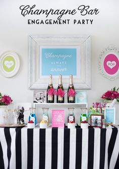 Champagne Bar Party - ideas to host your own bridal shower! Champagne Bar, Engagement Party Decorations, Party Entertainment, Wedding Engagement, Engagement Brunch, Surprise Engagement Party, Engagement Parties, Surprise Proposal, Party Time
