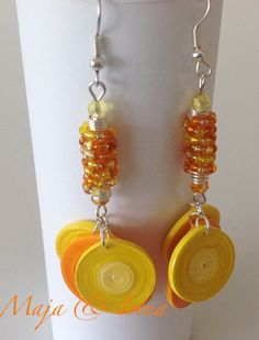 Quilled paper & beads earrings by Yesterday's news - today's accessories. With Maja Cerljenko