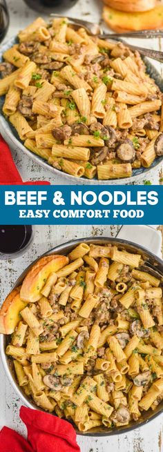 Beef and Noodles is a creamy comfort dish that your whole family will love! Done in about 30 minutes, this is a perfect weeknight dinner win. Yummy Pasta Recipes, Fun Easy Recipes, Vegetarian Recipes Dinner, Entree Recipes, Dinner Recipes, Cooking Recipes, Healthy Recipes, Noodle Recipes, Special Recipes