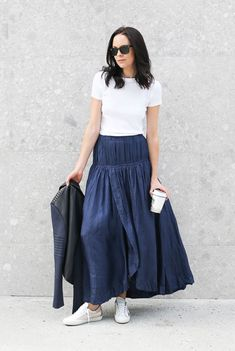 spring outfit, summer outfit, fall outfit, street style, comfy outfit, casual outfit, sneakers outfit, street chic style, fall trends 2016 - navy maxi skirt, white t-shirt, metallic sneakers, black leather jacket, black sunglasses