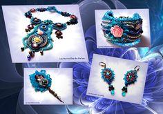 """Cette parure d'inspiration baroque """"Belle Epoque"""" a participé au concours """"Embroidering """"Baroque Ornaments Jewelry le 23/10/13"""". Hors du commun comme j'aime. avec un un relief très particulier. Vous pouvez les voir sur mes sites  http://lesmerveillespat.canalblog.com/ http://www.alittlemarket.com/boutique/les_merveilles_de_perles-805099.html"""