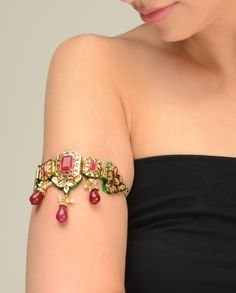 Kundan Armband with Red Bead Drop by Just Jewellery