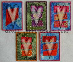I created these ATCs this past week. Fabric Postcards, Atc Cards, Artist Trading Cards, Mug Rugs, Fabric Art, Embellishments, Valentines Day, Scrap, Random Acts