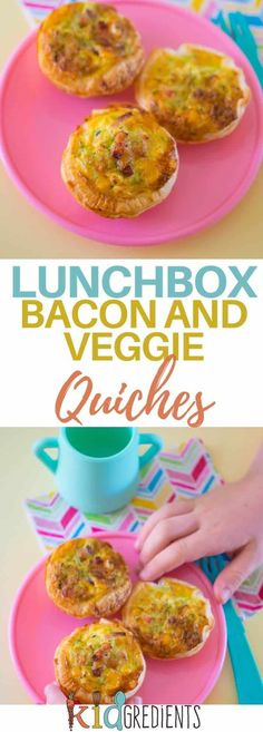 Lunchbox bacon and veggie quiches, perfect in the lunchbox and super easy to make using puff pastry! Yummy, kidfriendly and veggie packed! #recipe #kidsfood #healthykids #hiddenveggies #bacon #quiche #lunchbox via @kidgredients