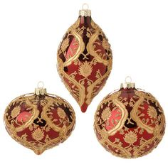 """RAZ Beaded Ornament Set of 3  Assorted ornaments Set includes one of each Deep Red, Gold Made of Glass Measures 4""""   RAZ Exclusive  RAZ 2015 Garnet Collection  This item is on order and arriving"""