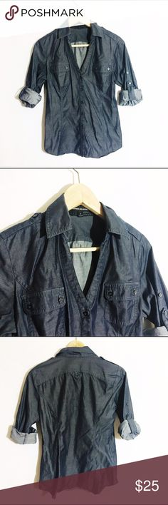 EXPRESS the Editor chambray denim button up Like new condition. Fitted button up with v neck Express Tops Button Down Shirts