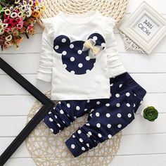 2016 New fashion kids clothes girl baby long rabbit sleeve cotton Minnie casual suits baby clothing retail children suits - Kid Shop Global - Kids & Baby Shop Online - baby & kids clothing, toys for baby & kid Winter Outfits For Girls, Kids Outfits Girls, Baby Outfits, Girls Wear, Spring Outfits, Outfit Summer, Disney Outfits, White Outfits, Fashion Kids