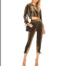 OEM Service Women Sportswear Tracksuit New Design Yellow Velour Tracksuit