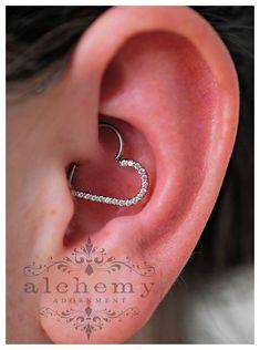 16 Gauge CZ Heart Right Closure Daith Cartilage Tragus Earring ...