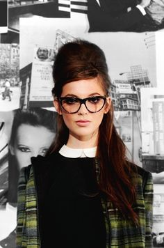 Hair. Glasses. Plaid. Peter Pan collar. find more women fashion ideas on www.misspool.com