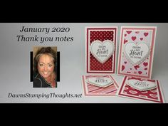 January 2020 Thank you notes video - Dawn's Stamping Thoughts Valentines For Kids, Valentine Day Cards, Holiday Cards, Thank You Notes, Thank You Cards, Dawn Griffith, Dawns Stamping Thoughts, Card Tutorials, Video Tutorials