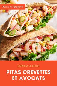 Recette parfaite pour l'été: santé, crémeuse, pleine de saveurs. Shrimp Avocado, Shrimp Salad, Home Recipes, Healthy Recipes, Avocados From Mexico, Mini Cucumbers, Cilantro, Tasty Recipe, Yummy Food