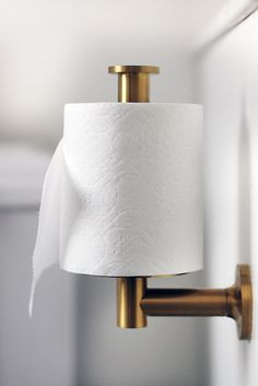 Best way to hang toilet paper! Switch the holder to vertical instead of horizontal.