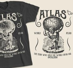 bceb92d34 Atlas - Retro Vintage Distressed T-Shirt Design Shirt Designs, Retro Vintage