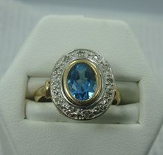 Antique Vintage 14K Two-Tone Gold Blue Topaz and Diamond Oval Ring - Rings
