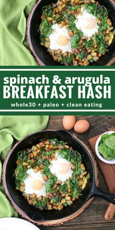 You're going to love this yummy breakfast hash. It's perfect for your Whole 30 or any day of the week. Spinach & arugula have never tasted so good!