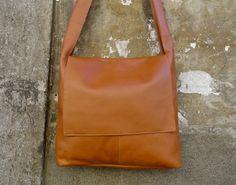 Leather Messenger Tote Bag