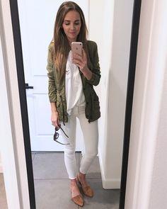 Merrick's Art // Style + Sewing for the Everyday : white tee, white jeans, olive vest, cognac flats Olive Vest, Merricks Art, Casual Dresses, Fashion Dresses, White Leggings, Weekend Sale, White Denim, White Style, White Tees