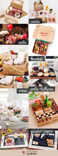 Pensa em fazer um café da manhã especial no Dia dos Namorados? Pra te ajudar trouxe dezenas de inspirações e dicas selecionadas com muito carinho neste post!♥ Então vamos lá!  COMIDINHAS COM O CORAÇÃO - APAIXONADAS E APAIXONANTES!    Cortadores de coração: Com estes cortadores você vai fazer de tudo! Cortar biscoitos, bolos, pães, massas, frutas e gelatinas. Veja as ideias acima e já anote tudo aquilo que você e seu amor gostam e que você conseguiria fazer para o dia! Forminhas de coração… Breakfast Basket, Best Breakfast, Love Gifts, Diy Gifts, Coffee Box, Diy Presents, Happy Mom, Good Enough To Eat, Romantic Dinners