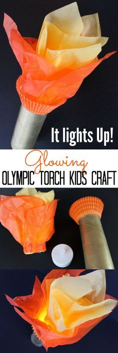 IT LIGHTS UP! Glowing Tealight Olympic Torch Kids Craft for the Summer Olympics and Winter Olympics games - A great toilet paper roll craft for kids to hold during the Olympic Opening Ceremony!    OHMY-CREATIVE.COM