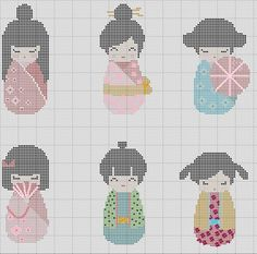 Kokeshi Dolls in Kimono 6 in 1 Japanese Cross par TheSoftScientist