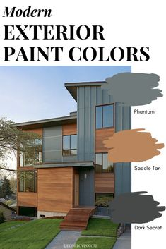 Modern Exterior Paint Colors Paint your home with confidence using this modern paint color guide! 9 different modern exterior paint color combinations that will look good on any home. Pick your favorite one! Exterior Paint Color Combinations, House Paint Color Combination, Exterior Paint Colors For House, Color Schemes, Outdoor House Colors, Cabin Exterior Colors, Outside House Paint Colors, Best Exterior Paint, Siding Colors