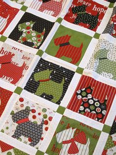 Cute Christmas Scottie Dog Quilt - Bitsy Button & Friends pattern from Bunny Hill Designs ~ http://www.bunnyhilldesigns.com/store/products/details/?product=dogquiltap
