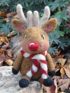 Needle Felted Reindeer  Rudolfo by TheWhimsicalWarren on Etsy, $28.95